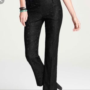 Ann Taylor Devin Black Lace Tailored Ankle Pants